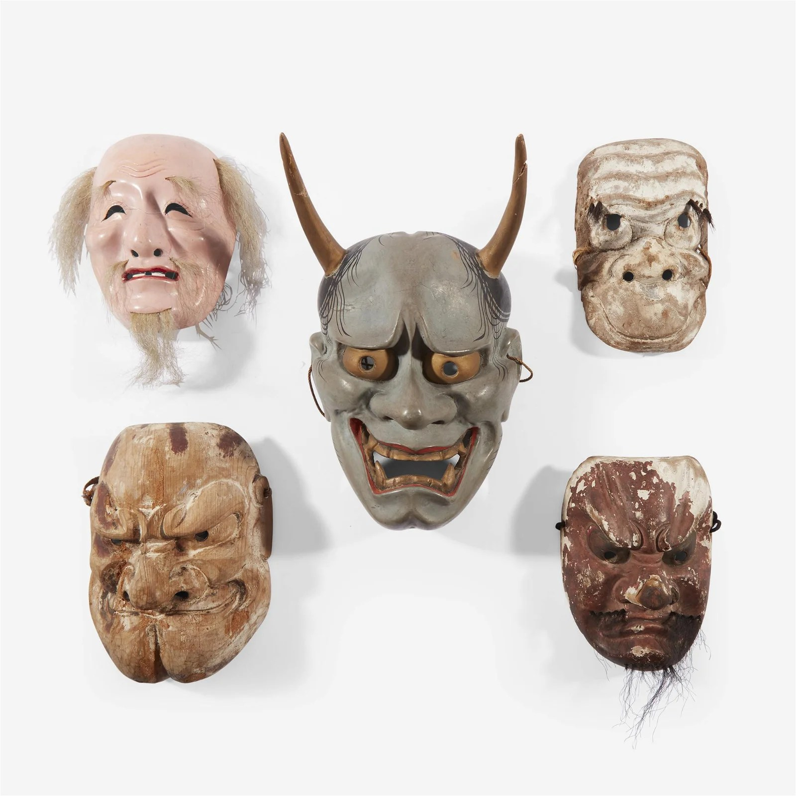 A group of five Japanese theater masks, Edo period and