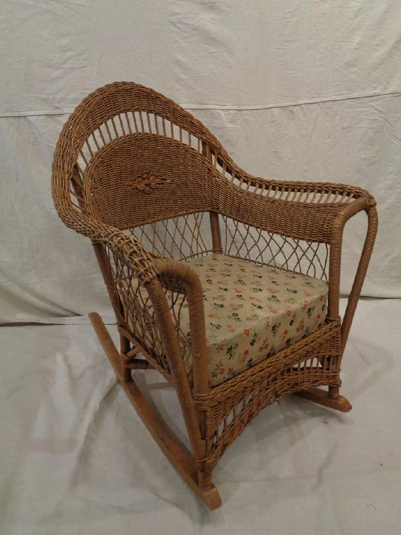 Wicker Rocking Chair Heywood Wakefield Style Wicker Rocking Chair On Liveauctioneers