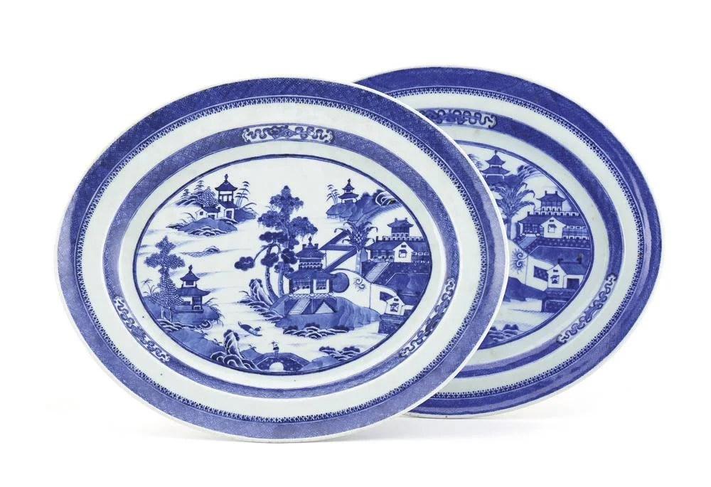 Par de travessas elípticas em porcelana chinesa CI