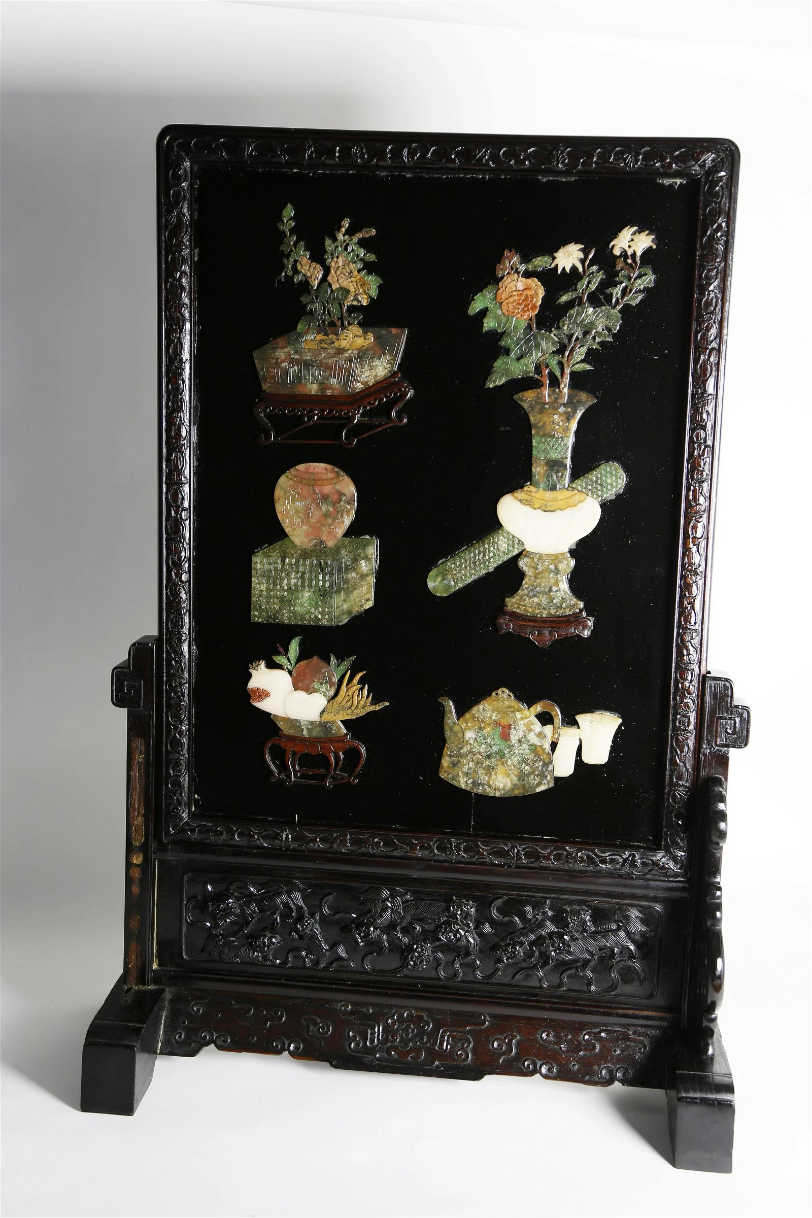 Chinese Hardstone Table Screen, mid 19th Century