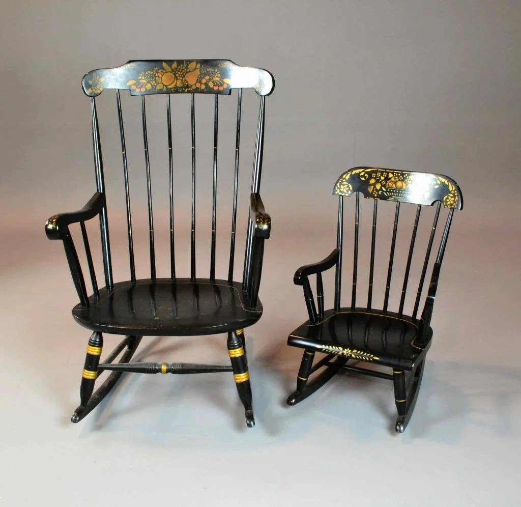 2 Hitchcock Rocking Chairs - Adult And Child