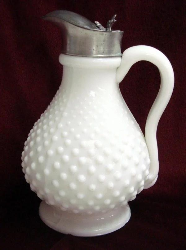 Antique Milk Glass Hobnail Syrup Pitcher