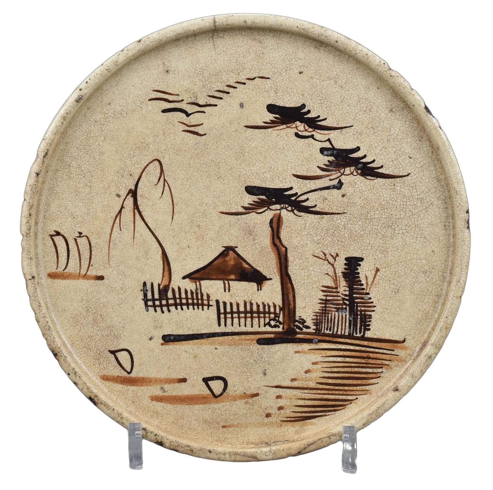 A Japanese Seto Ware Andon-Zara Dish – Edo Period.