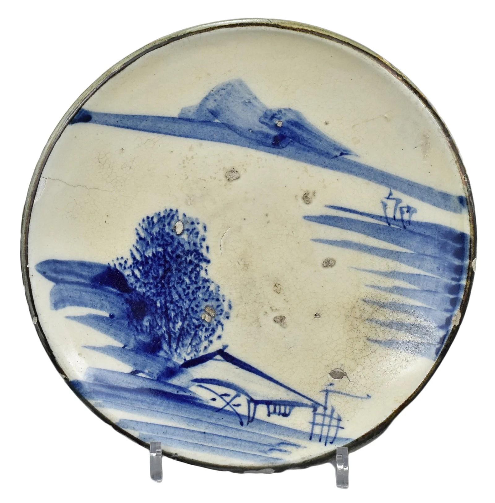 A Rare Japanese Blue & White Seto Stoneware Dish -
