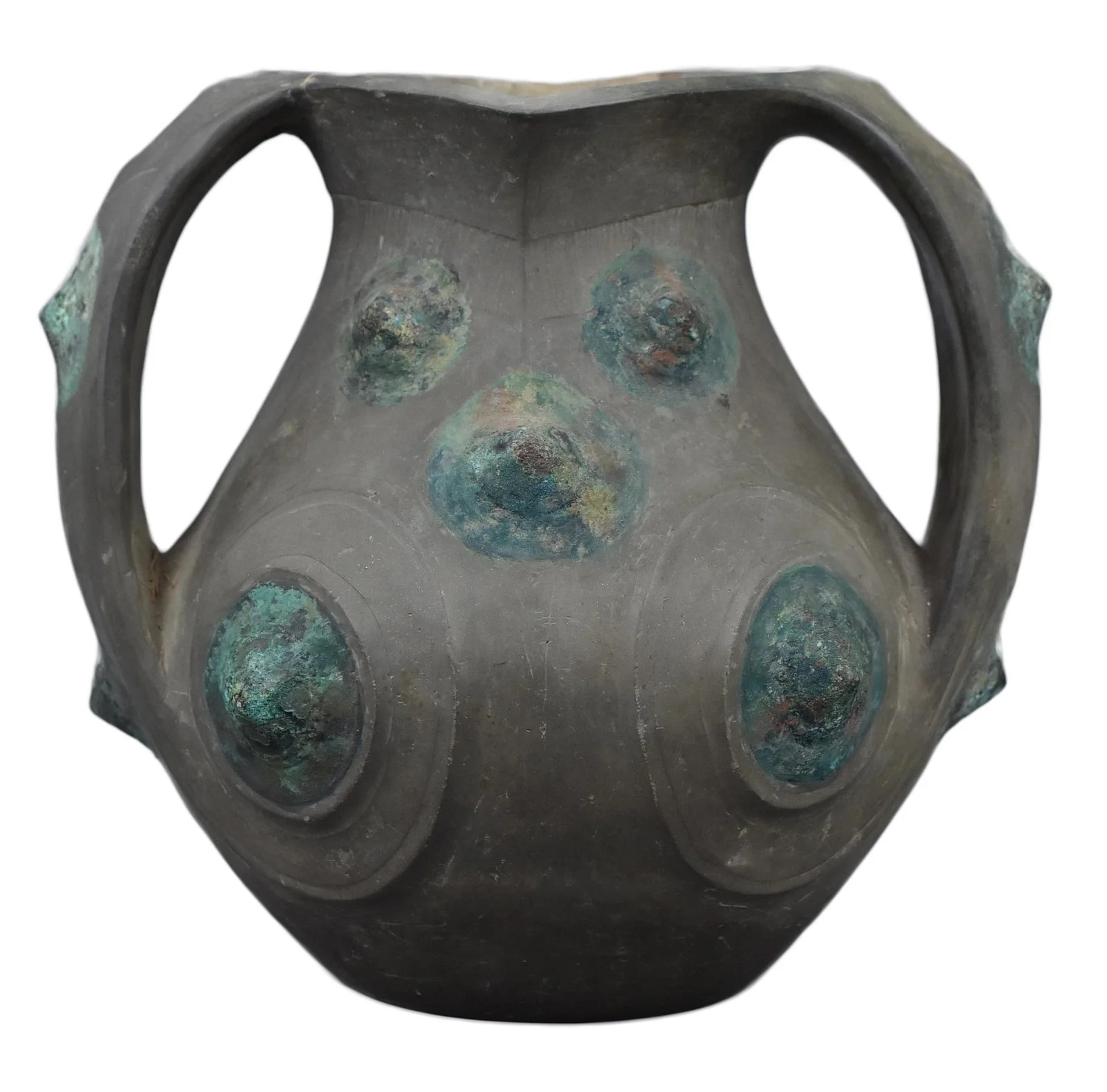 A Chinese Han Dynasty Black Pottery Amphora with Bronze
