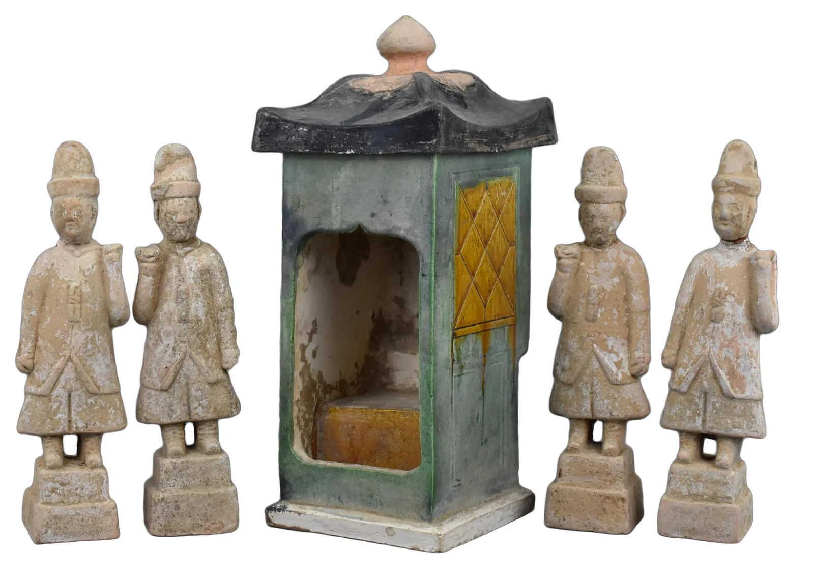 A Chinese Ming Dynasty Pottery Sedan Chair and Four