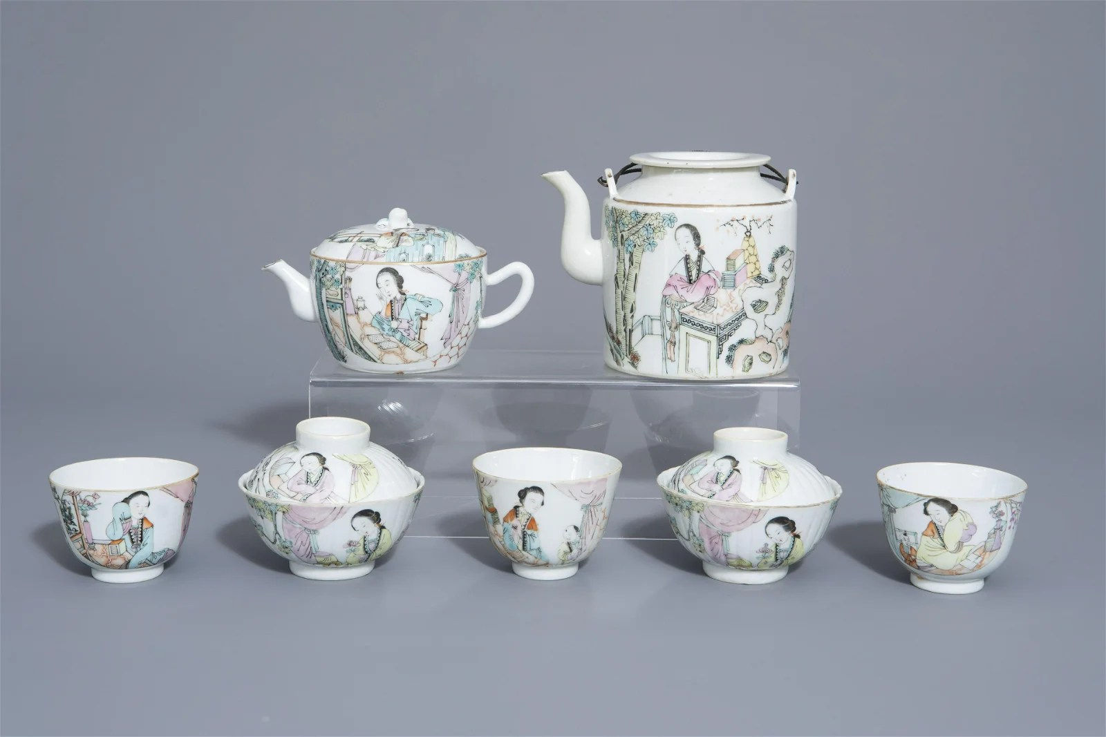 A Chinese seven-piece qianjiang cai tea service with