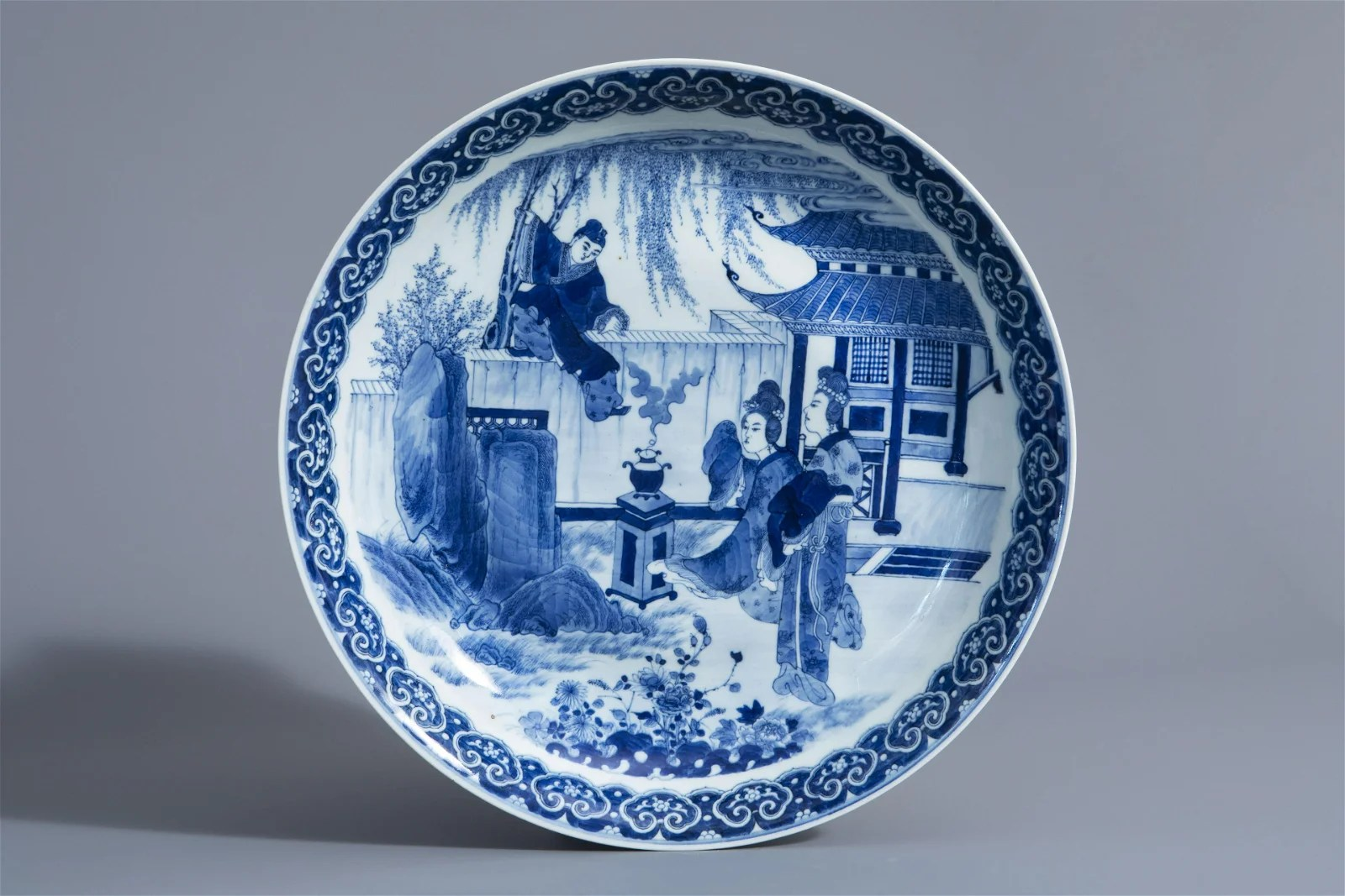 A Chinese blue and white 'Romance of the Western