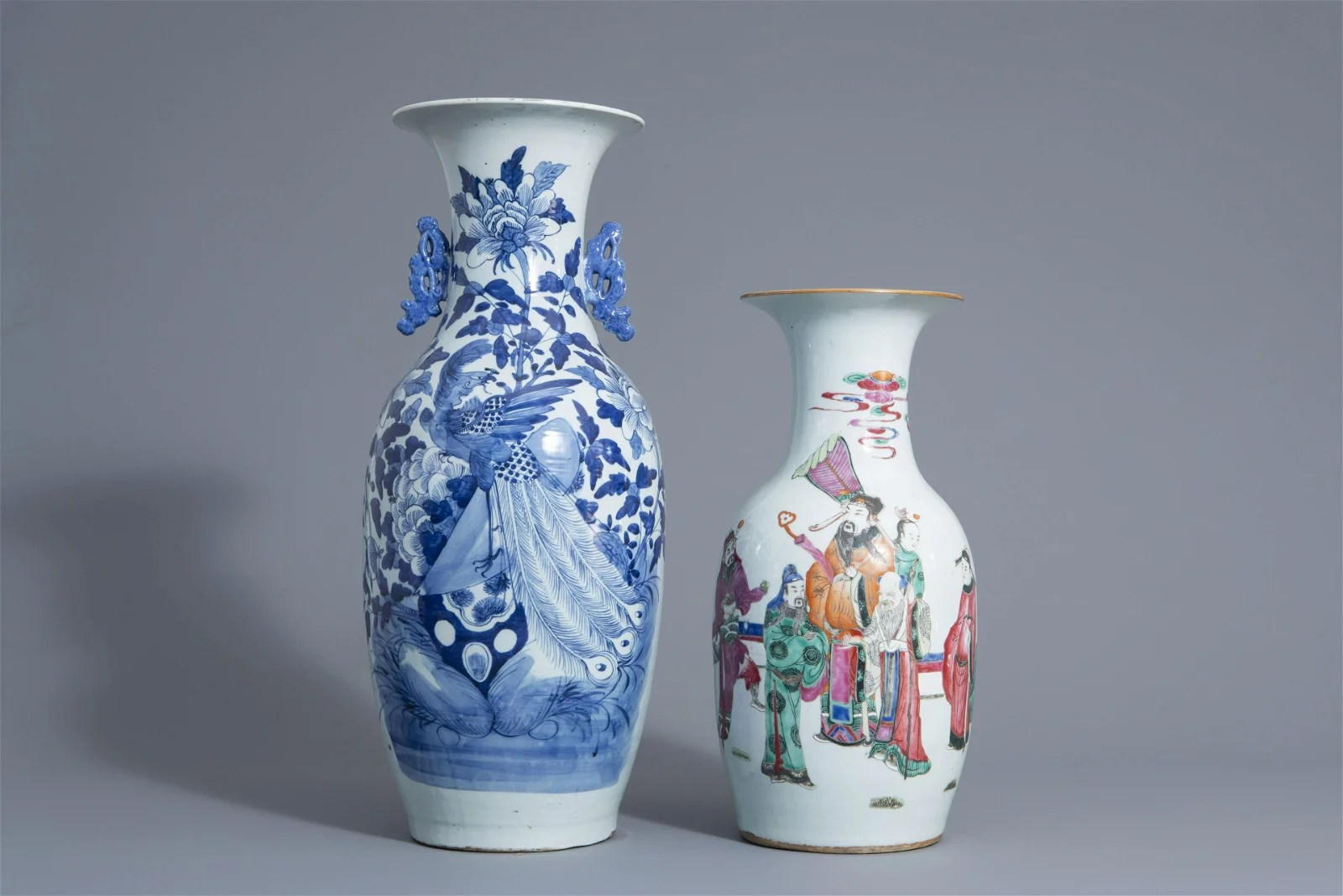 Two Chinese famille rose and blue and white vases with