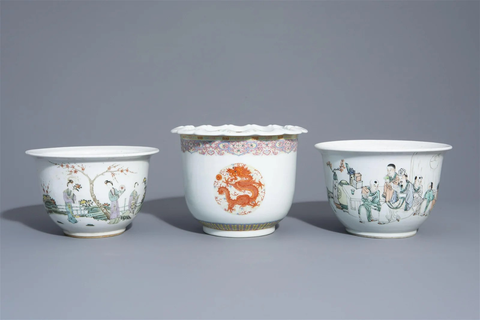 Three Chinese famille rose and qianjiang cai