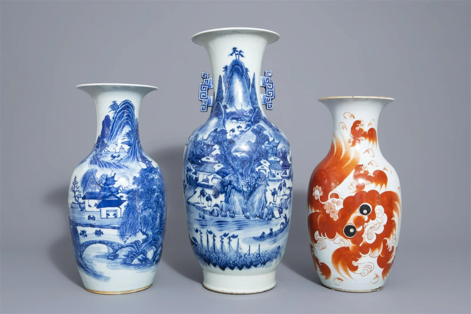 Three Chinese blue and white and iron red vases,