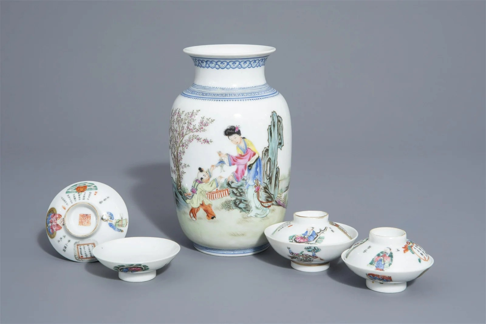 A Chinese famille rose eggshell vase and six 'Wu Shuang