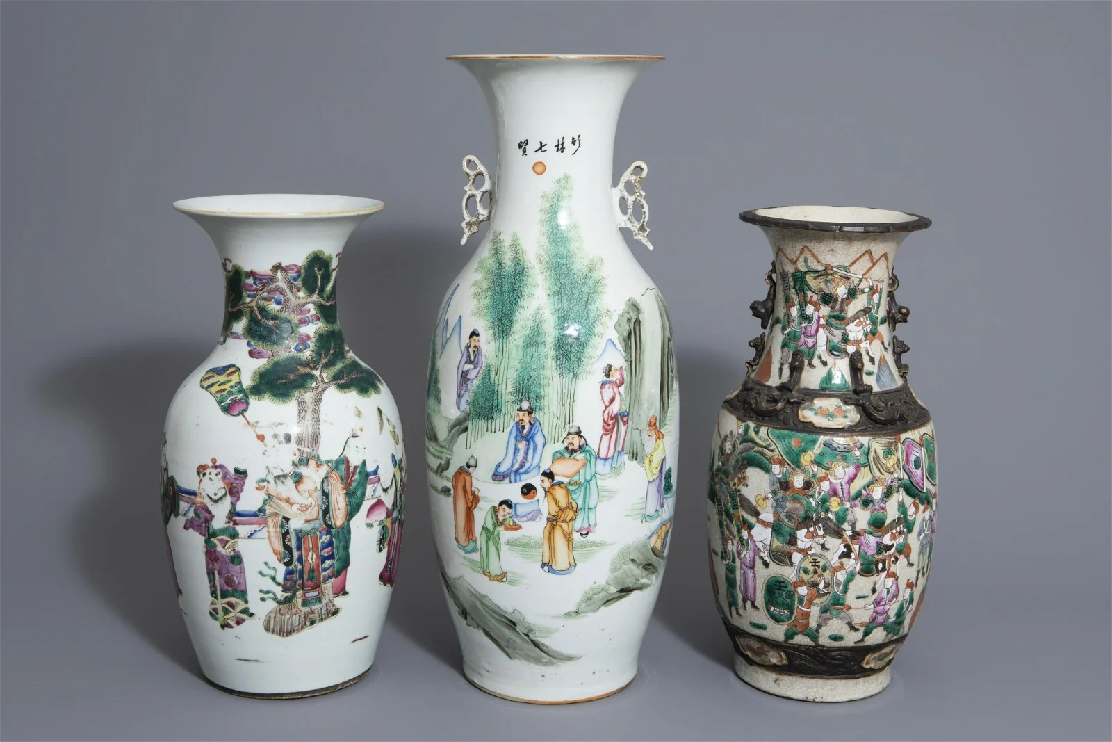 Three Chinese famille rose and Nanking crackle glazed