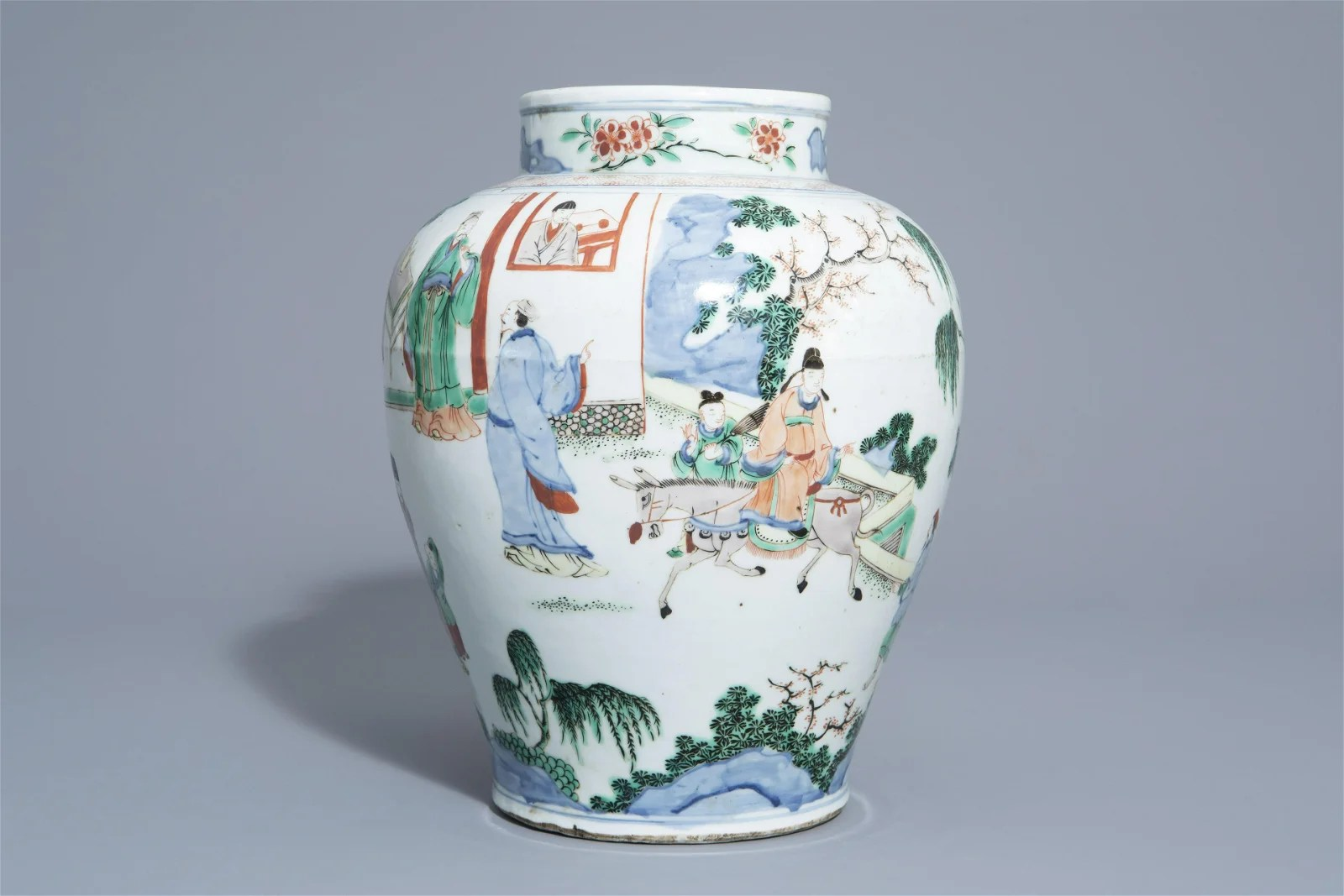 A Chinese famille verte baluster shaped vase with