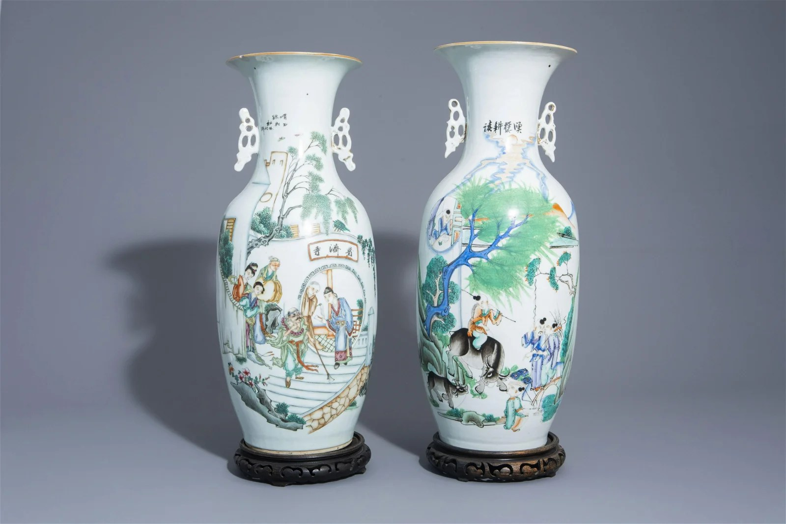 Two Chinese famille rose vases with figures, 19th/20th