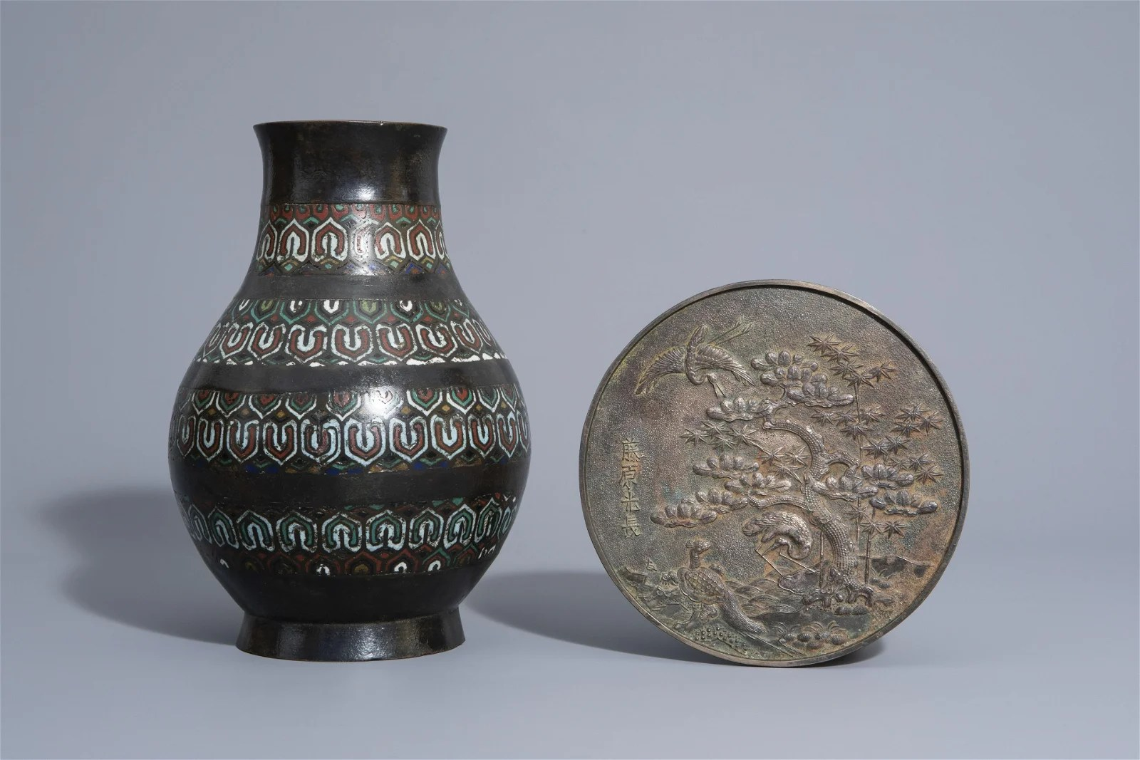 A Chinese champlevé enamel bronze vase and a bronze
