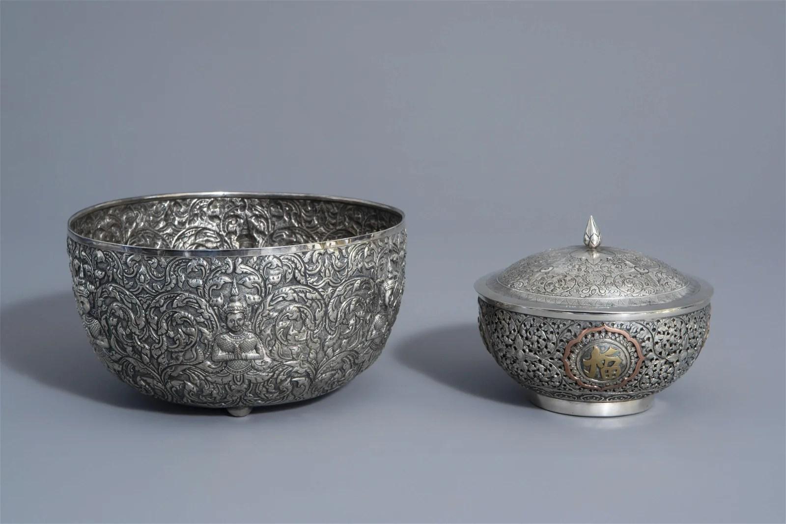 A Thai silver Bencharong bowl and a Chinese silver bowl