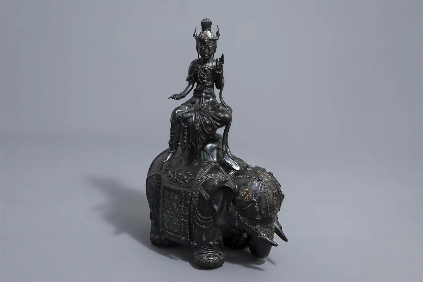 A large Japanese champlevé bronze group depicting
