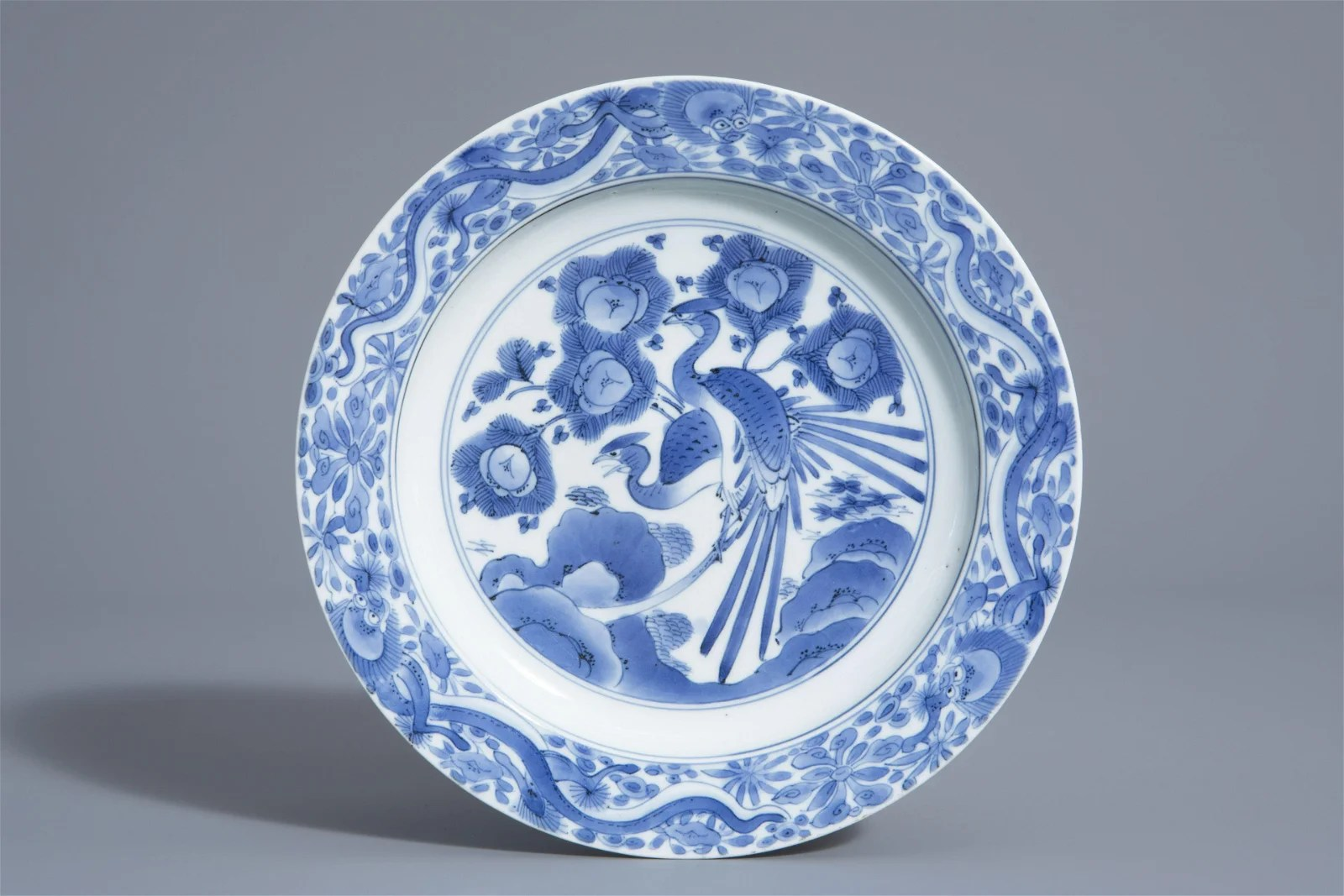 A Japanese blue and white plate with phoenixes on