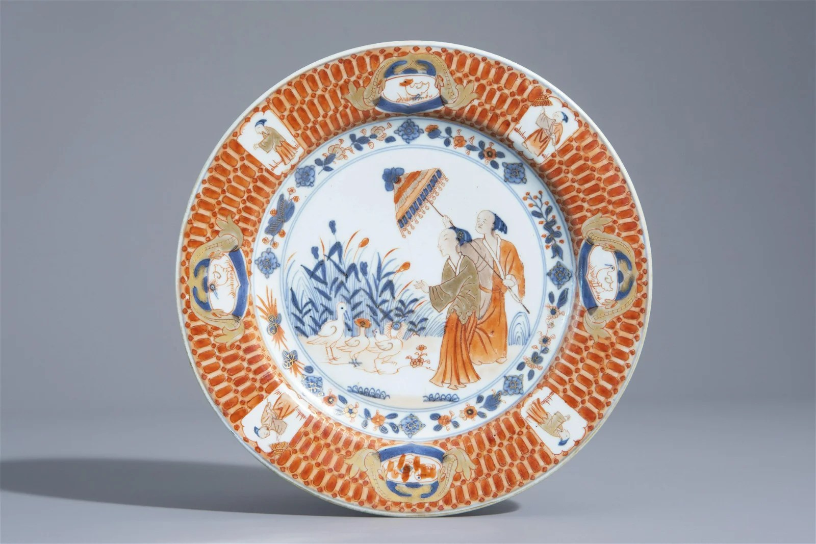 A Chinese Imari style plate with 'Dames au Parasol'