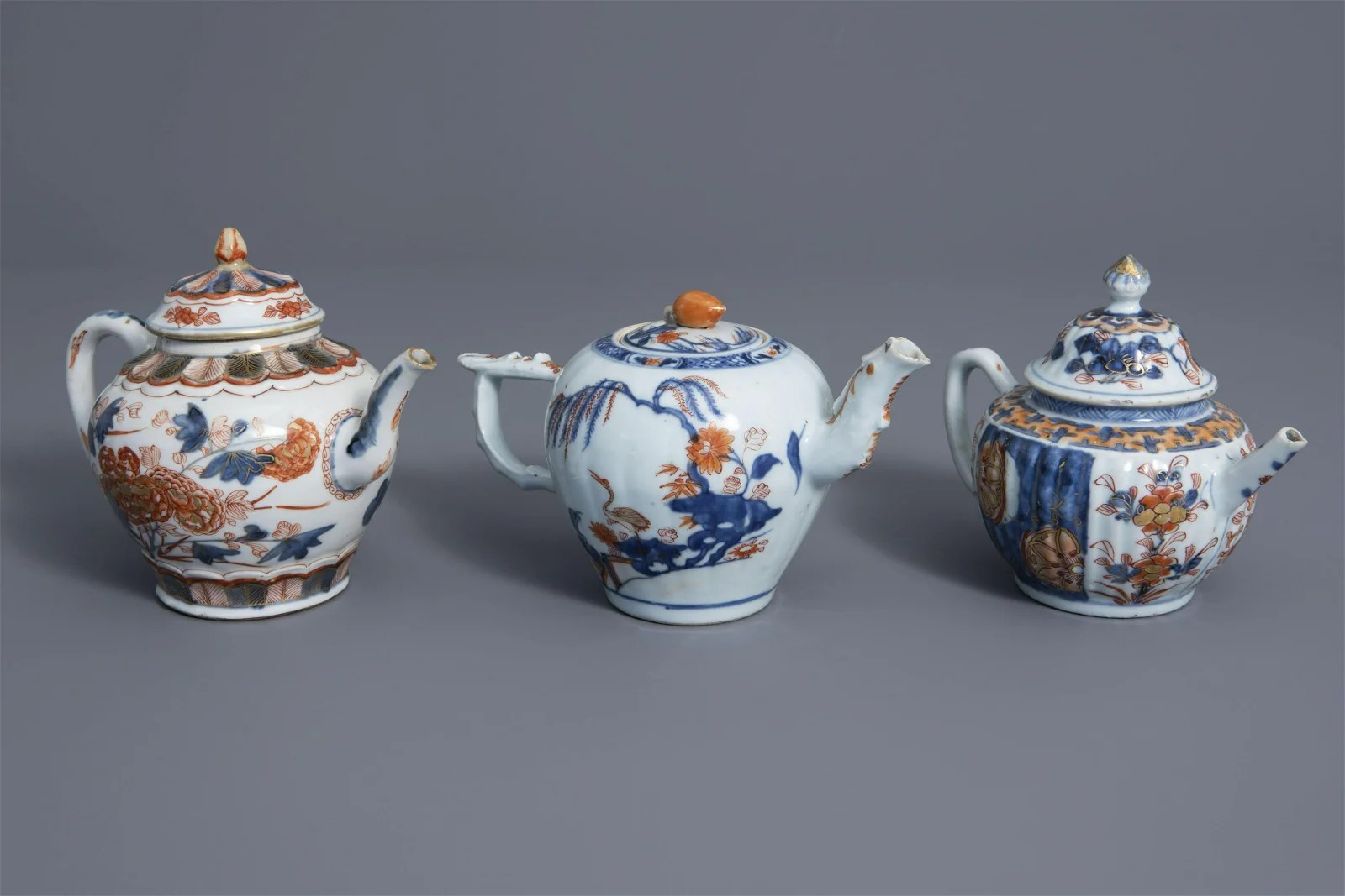 Three Chinese Imari style teapots and covers with