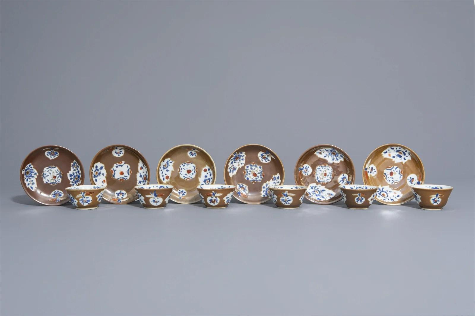 Six Chinese Imari style Batavian ware cups and saucers,