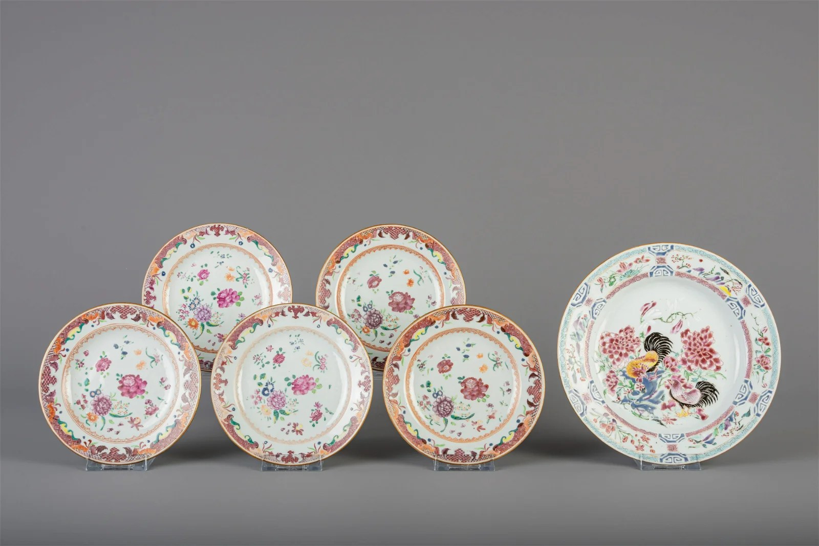 A Chinese famille rose rooster plate and five dishes