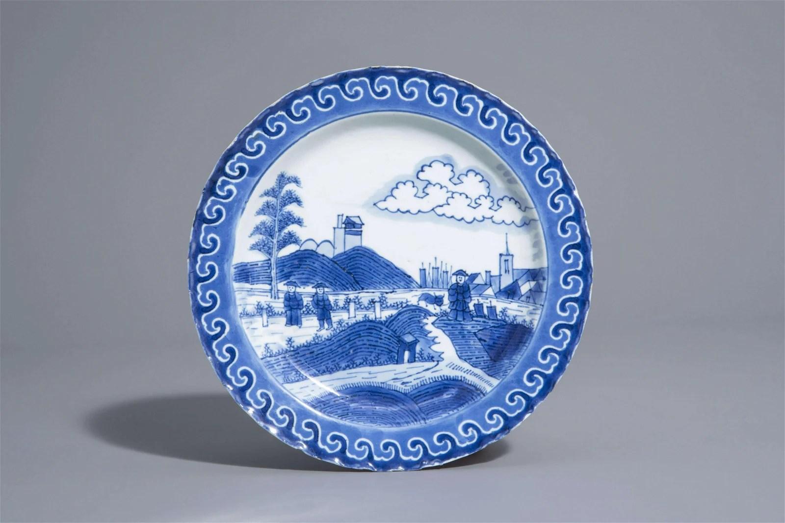 A Chinese blue and white 'Nabeshima' or 'Scheveningen'