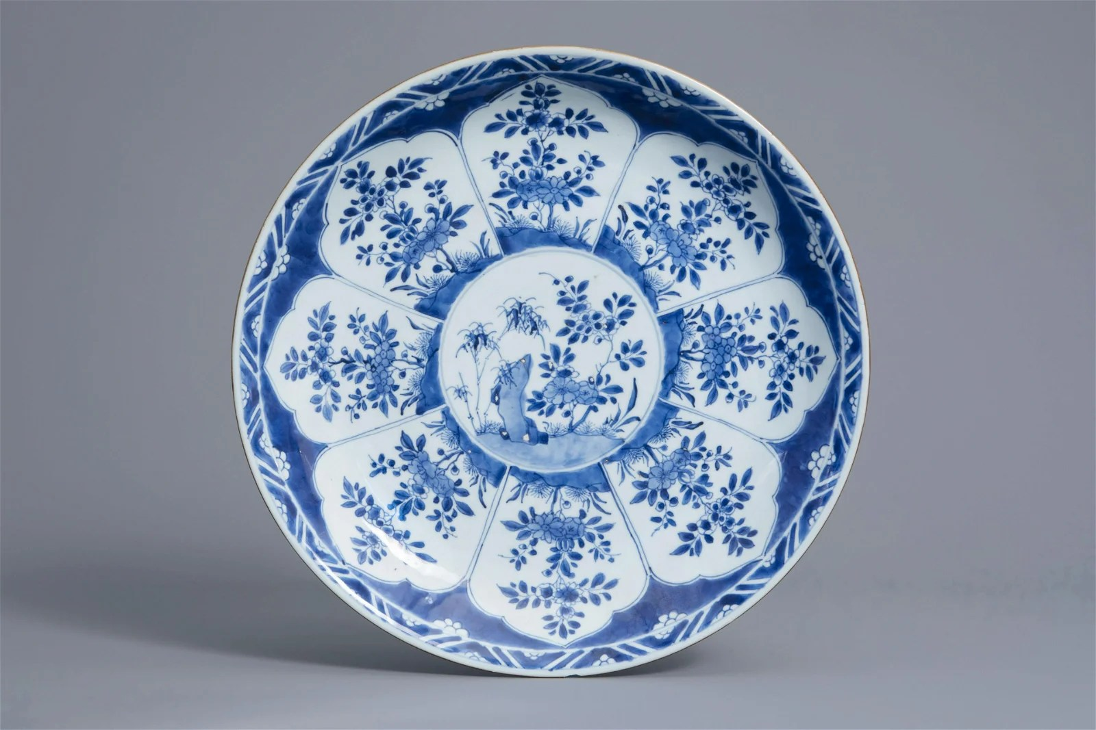 A Chinese blue and white charger with floral design,