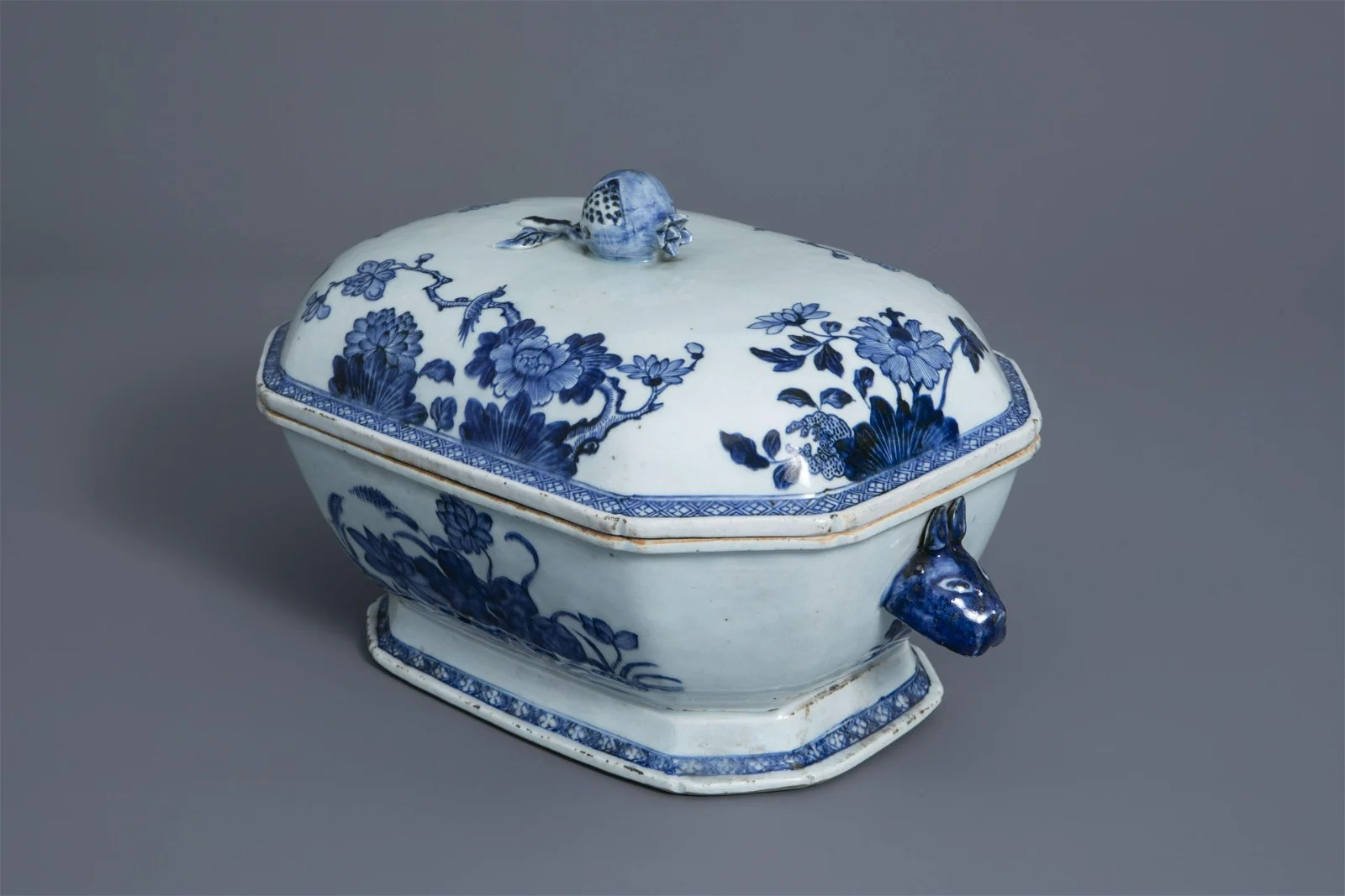 A Chinese blue and white tureen and cover with floral