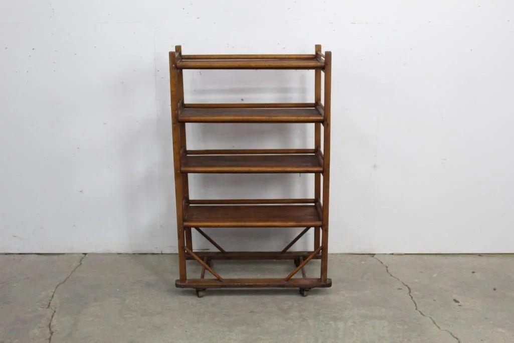 antique industrial wooden rolling shoe rack storage