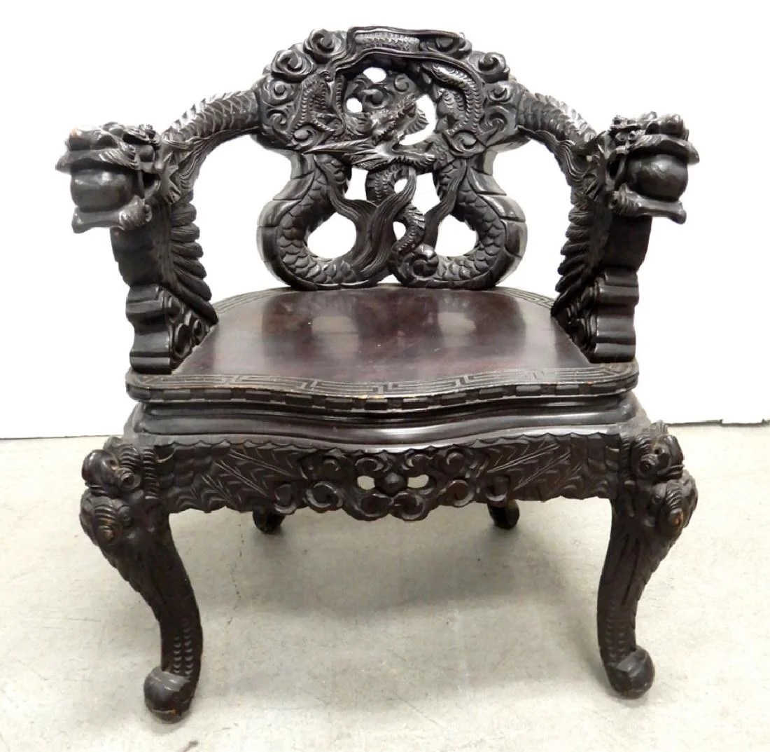 Dragon Chair Japanese Carved Hard Wood Dragon Chair On Liveauctioneers