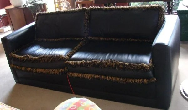 Chair Hide A Bed 144 Black Leather Hide A Bed Couch Sofa Fringe Trim