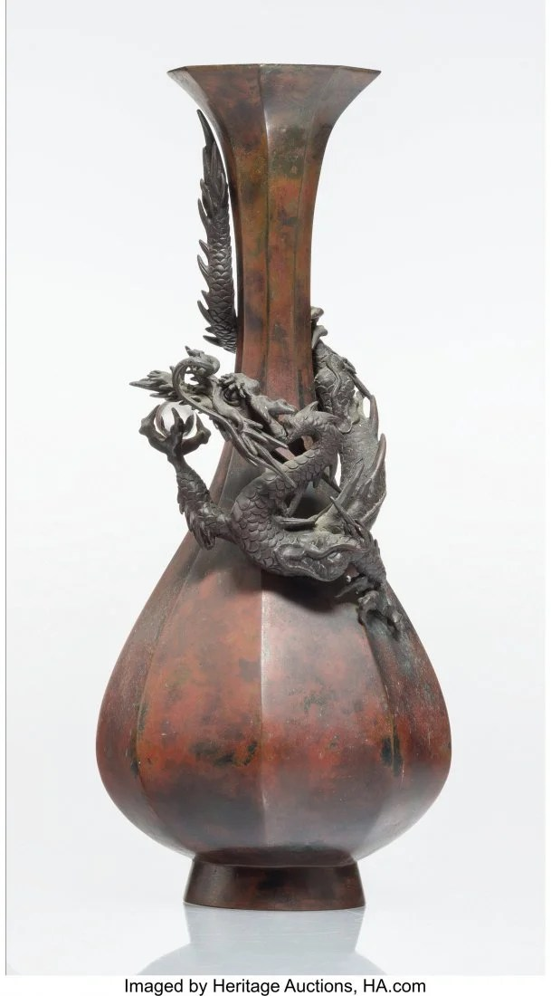 27045: A Japanese Patinated Bronze Vase with Applied Dr