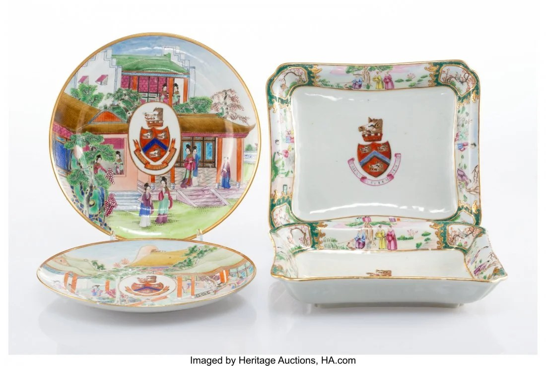 27059: Two Pairs of Chinese Armorial Export Porcelain D
