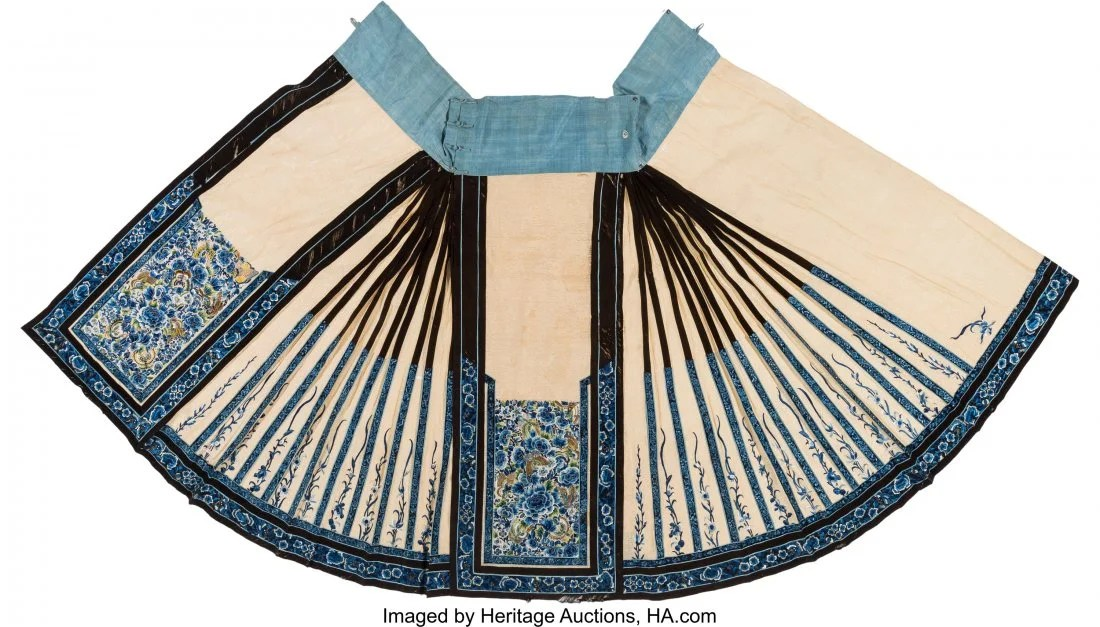 27066: A Chinese Embroidered Silk Skirt, 19th century