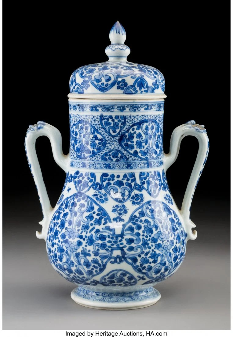 78169: A Chinese Blue and White Porcelain Two-Handled V