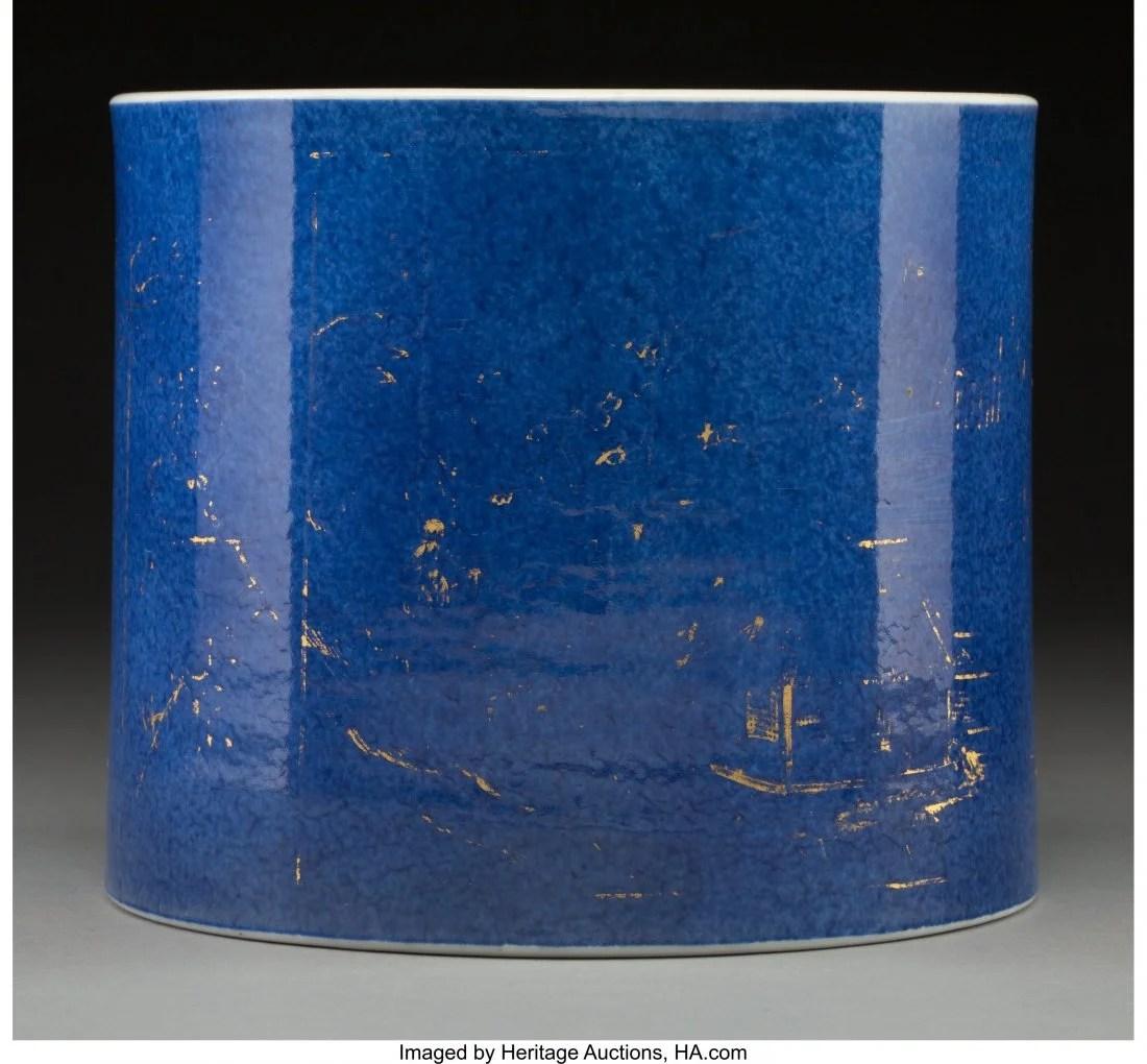 78112: A Chinese Partial Gilt Powder Blue Ground Porcel