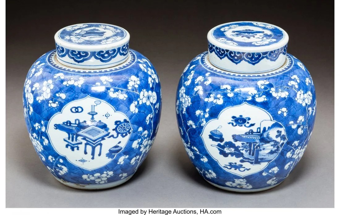 78119: A Pair of Blue and White Porcelain Jars with Cov