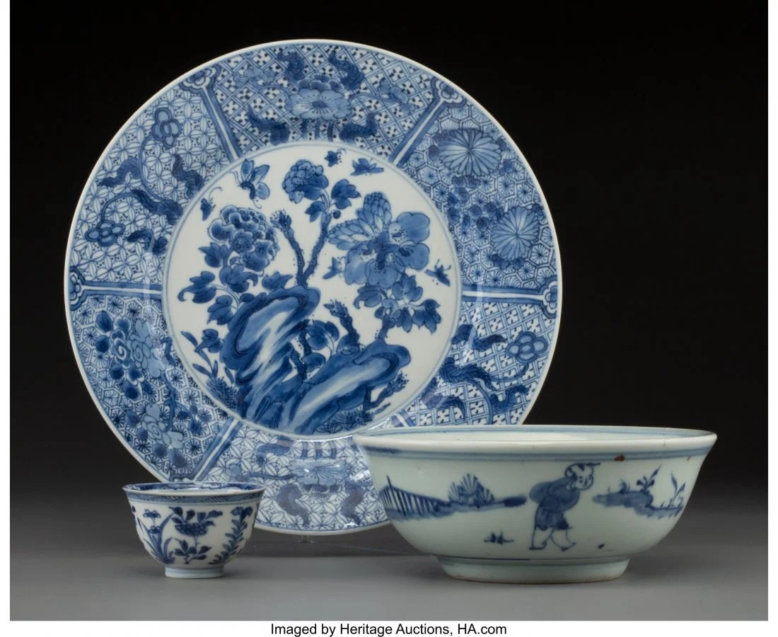 78122: A Group of Three Blue and White Porcelain Articl