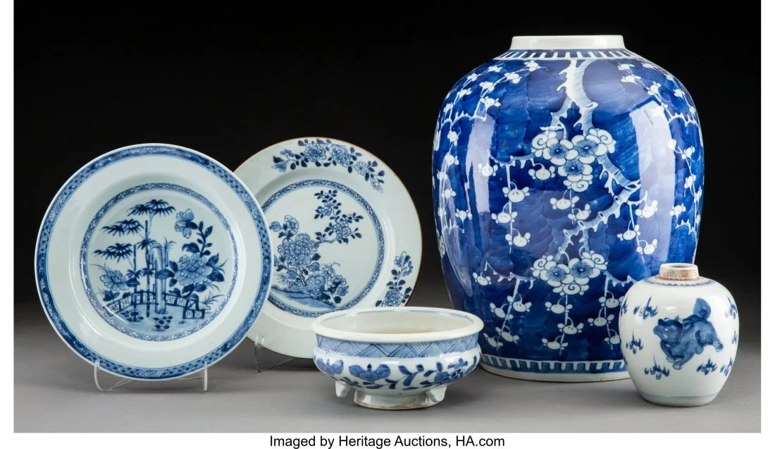 78124: A Group of Five Chinese Blue and White Porcelain