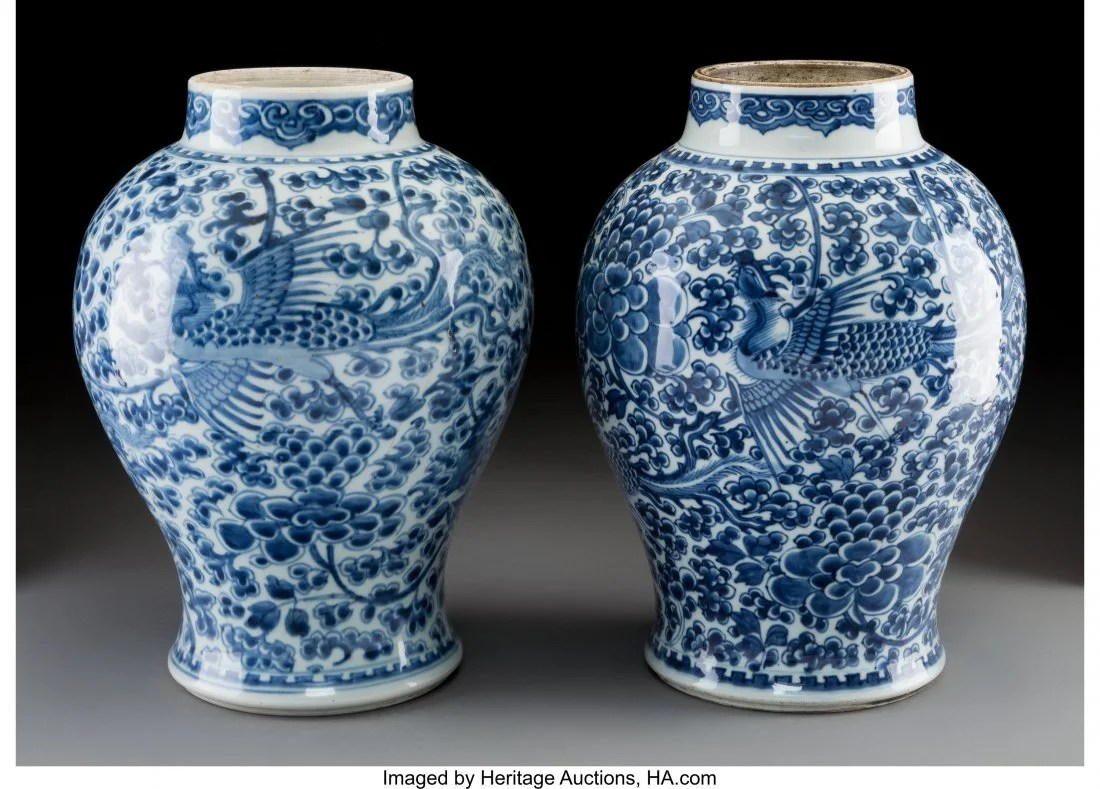 78125: A Near Pair of Chinese Blue and White Porcelain