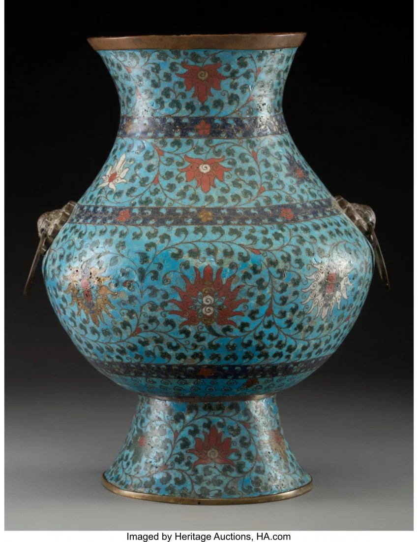 78146: A Chinese Cloisonné Hu Vase, Ming Dynasty