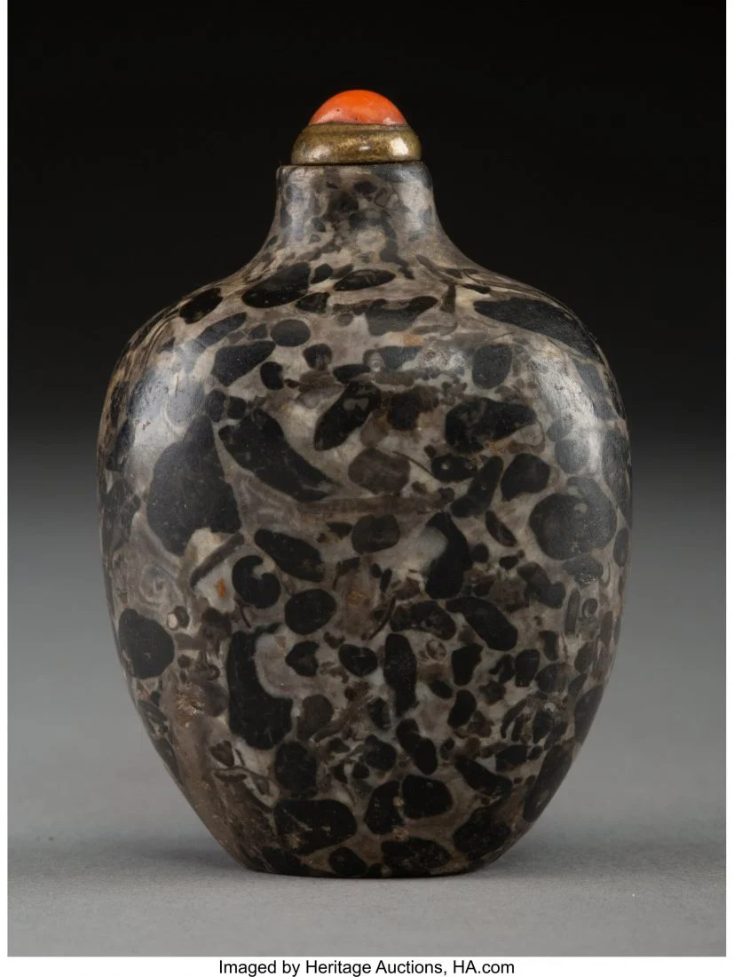 78427: A Chinese Pudding Stone Snuff Bottle, Qing Dynas
