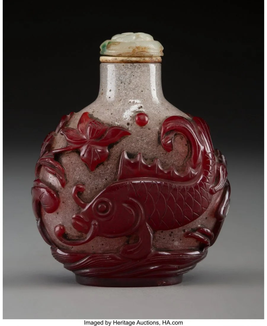 78428: A Chinese Red Glass Overlay Snuff Bottle, 19th c