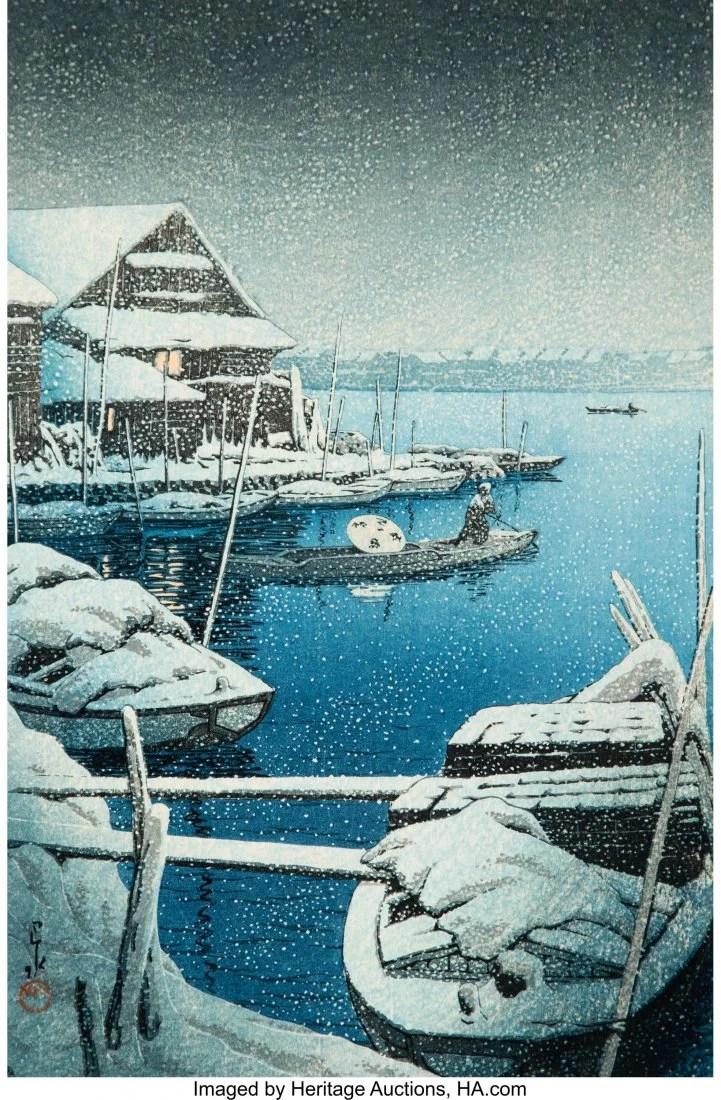 78420: Hasui Kawase (Japanese, 1883-1957) Snow at Mukoj