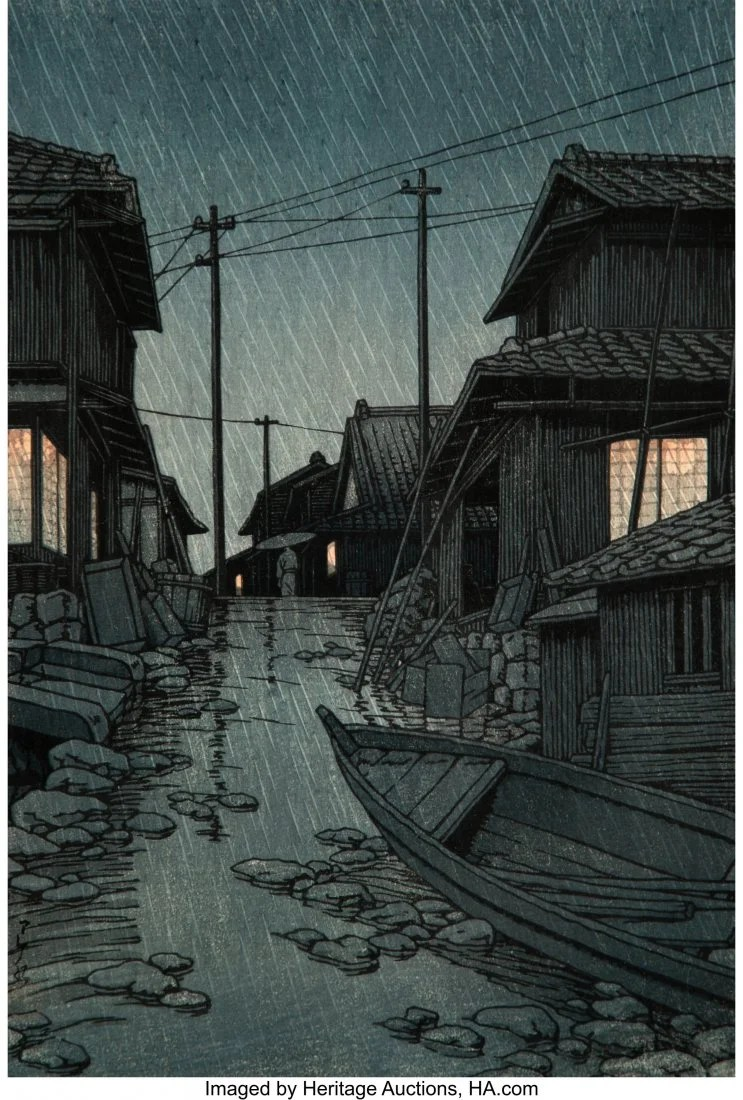 78422: Hasui Kawase (Japanese, 1883-1957) Night Rain at