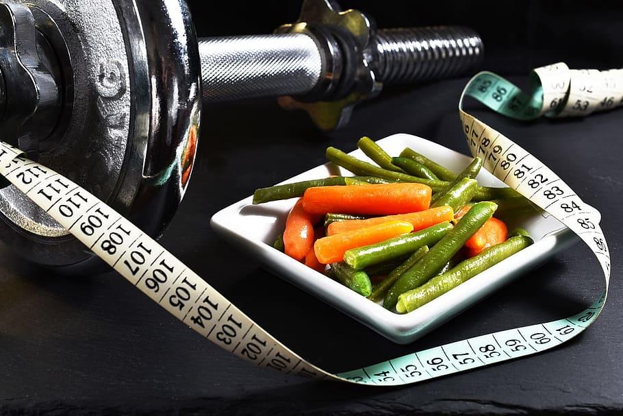 string beans, bowl, fitness, dumbbell, vegetables, exercise, muscles, sport, dumbbells, strengthening,  weight loss strategies