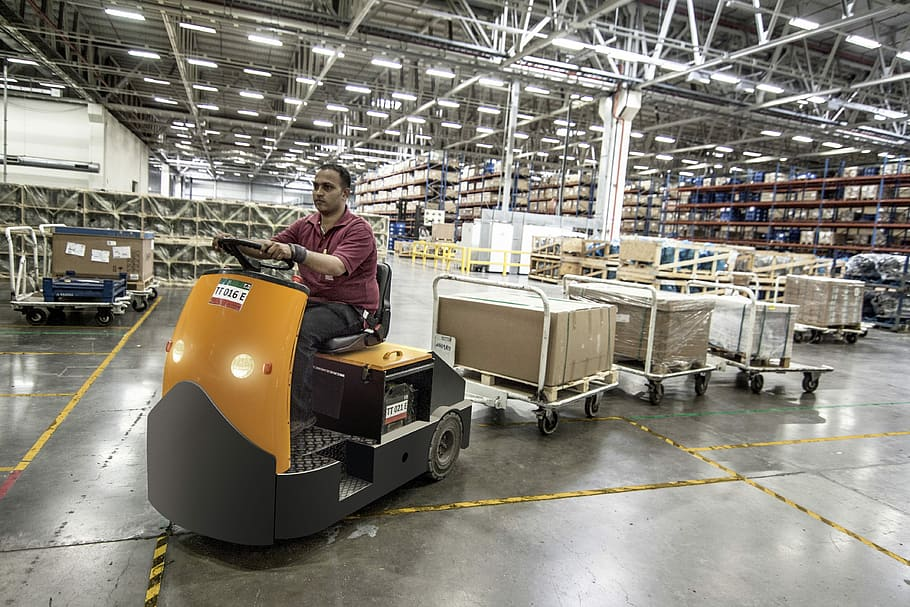 man, driving, cart, boxes, inside, building, forklift, warehouse, machine, worker