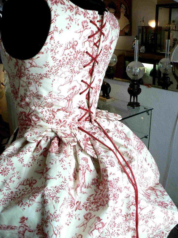 Corset toile de Jouy  Marjorie G CREATION CORSETS Robes de Marie LINGERIE
